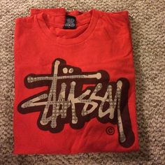 Stussy red tee No damage, worn a few times, large but can fit a medium Stussy Tops Tees - Short Sleeve