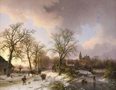 Barend Cornelis Koekkoek - Winterlandschap met figuren te Bedburg bij Kleef 1842