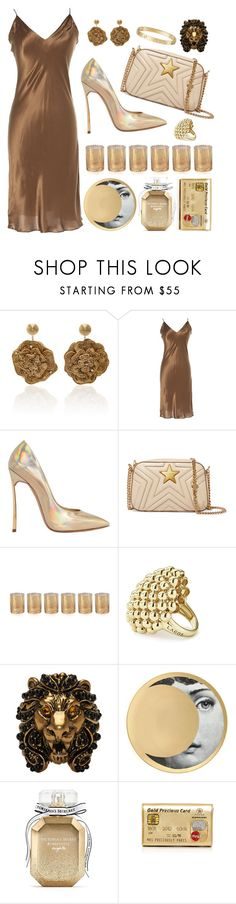 """Gold Hues"" by cherieaustin ❤ liked on Polyvore featuring Rebecca de Ravenel, Lanvin, Casadei, STELLA McCARTNEY, Zodax, Lagos, Gucci, Fornasetti, Victoria's Secret and Preciously"