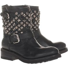 Ash Destroyer Nappa Black Studded Leather Biker Boots ($410) ❤ liked on Polyvore featuring shoes, boots, chaussures, sapatos, botas, black studded boots, black motorcycle boots, biker boots, studded biker boots and distressed black boots