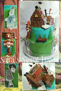 Gravity Falls Birthday cake  (all edible except character cutouts) by Sara's Sweet Haven visit me on FB