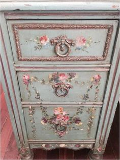 Rare antique hand painted rose floral wood chippy end table chest night stand pink flower shabby french nordic chic florentine venetian chic furniture white chic furniture for sale chic furniture painting shabby chic furniture Armoire Shabby Chic, Shabby Chic Nightstand, Baños Shabby Chic, Cocina Shabby Chic, Shabby Chic Bedroom Furniture, Estilo Shabby Chic, Simply Shabby Chic, Shabby Chic Living Room, Shabby Chic Interiors