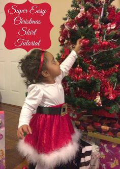 First Time Mom and Losing It: Super Easy Christmas Skirt Tutorial