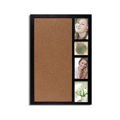 Adeco [PF0178] Decorative Black Wood Wall Hanging Collage Picture Photo Frame with Bulletin Board, 4 Openings of 4x4 inches and 4x6 inches