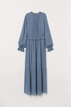 Long dress in an airy, woven fabric with shimmering dots in glittery thread. Opening at back of neck with button, small collar with ruffle, long sleeves, an Muslim Fashion, Modest Fashion, Hijab Fashion, Fashion Dresses, Modest Dresses, Dresses With Sleeves, Hijab Stile, Islamic Clothing, Chic Dress
