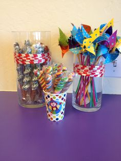Pinwheels, pretzel sticks, and lollipops for Gymboree birthday party.