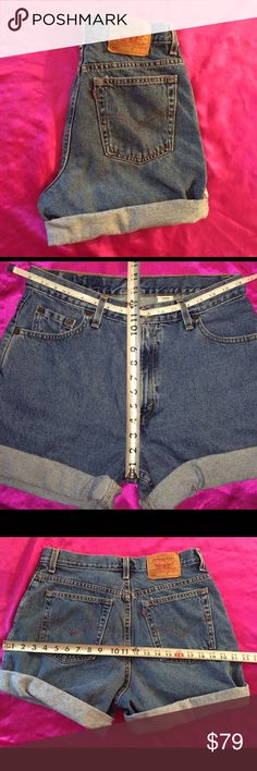 ❤SALE!️HIGH WAISTED.LEVI'S 550.VINTAGE JEAN SHORTS ❤Snatch them before theyre Gone‼️Popular 90's 550 Levi's‼️ To see how they look on just google 'Vintage Levis 550 high waisted jeans,' So Cute! ❤️Great pair of Vintage Levis.  .  High waisted.  Could fit 32-33 Waist. Measurements in pic show waist & rise. Roomy/Relaxed in the seat & thigh!!❤️  Last pair sold for $$$ Cut & make your own perfect cut off jeans shorts❤️.. Tag:Closet staple!Mom jeans/boyfriend jeans. Quality!Cotton Levi's Shorts…