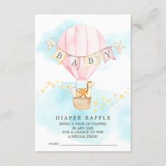 Baby Animals Hot Air Balloon Diaper Raffle Ticket Enclosure Card Balloon Rides, Hot Air Balloon, Baby Shower Invitation Cards, Pack Of Diapers, Diaper Raffle Tickets, Safari Party, Baby Animals, Holiday Cards, Balloons