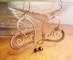 Wire Wrapped Heart Earrings Copper and Violet by GearsFactory, €18.00