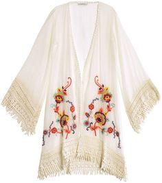 Ondademar Bursa Embroidered Kaftan in White (ivory) - Lyst