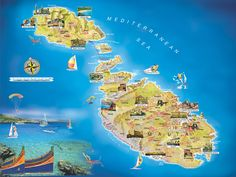 The country of Malta. Main Island of Malta at bottom right. Secondary island of Gozo (Aw-desh) at top left) Malta Map, Malta Gozo, Malta Italy, Malta Island, Island Map, Malta People, Malta Holiday, Travel Around The World, Around The Worlds