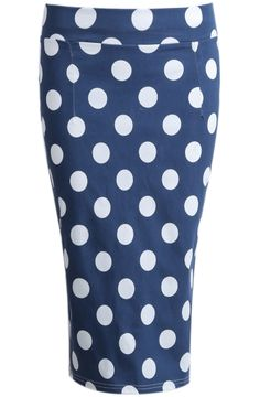 Blue Polka Dot Split Bodycon Skirt US$18.63