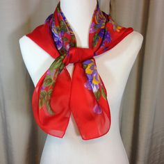Large Red Scarf with Purple and Yellow Flowers by Oldtonewjewels