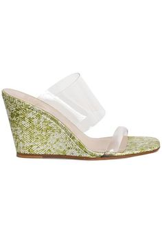 Slip on wedge mule, banded across the vamp and toes in a transparent flexible plastic. Olive snakeskin leather upper with a leather sole. Wedge Mules, The Vamps, Custom Items, Olympia, Snake Skin, Wedges, Leather, Wedding, Valentines Day Weddings