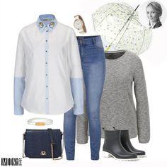 Ani outfit do dažďa nemusí byť smutný a bez fantázie☔Nápaditá košeľa s výšivkou na golieriku oživí aj jednoduchý outfit. Kombinujte s jednofarebným svetrom, rukávy košele vyhrňte cez sveter a golierik nechajte vytŕčaťNa vrch váš obľúbený kabát a máte vrstvenie na 1*Bez kabelky ani na krok. Tentokrát vyhrala tmavomodrá v podobe krokodílej kože. Nezabudnite na dáždnik.Viac