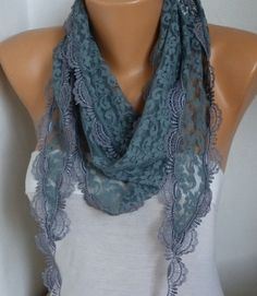 Gray Lace Scarf Shawl Cowl Scarf Bridesmaid Gift Gift Ideas