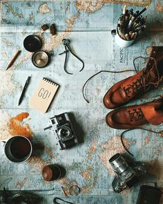 wanderlust / travel / adventure / flat lay / vintage cameras / world map / brown boots / compass / photography Adventure Awaits, Adventure Travel, Adventure Women, Adventure Holiday, Life Adventure, Adventure Quotes, Learning A Second Language, Photos Voyages, Jolie Photo