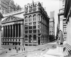 Premium Thick-Wrap Canvas Wall Art Print entitled New York Stock Exchange and Wilks Building on Wall Street in New York City, None New York Pictures, Old Pictures, Old Photos, Amazing Pictures, Vintage Photos, New York City, New York Street, Vintage New York, Vintage Architecture