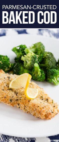 Parmesan Crusted Baked Cod - a crunchy, crispy kid-friendly fish dinner form Skinny Mom #dishonfish #seafoodcelebration