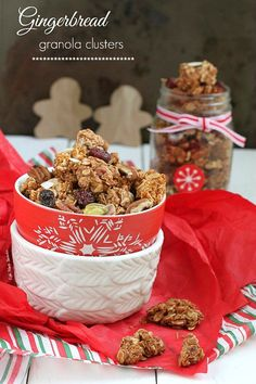 Gingerbread Granola Clusters is so easy to make with the favorite holiday flavor and full of big crunchy clusters. The perfect snack or breakfast.