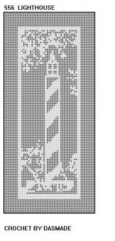 Set of 2 Lighthouse Filet Crochet Doily Patterns 556 559