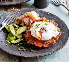 Take the classic combination of potato cakes (latkes) and smoked salmon to the next level by adding creamy avocado and poached eggs