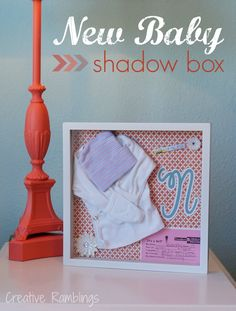 There are so many special memories from baby's first year. Capture his/her first moments in a baby shadow box and display it in the nursery. Little Baby Girl, Little Babies, Nursery Organization, Baby Memories, Babies First Year, Nursery Neutral, Nursery Inspiration, Diy Projects To Try, Shadow Box