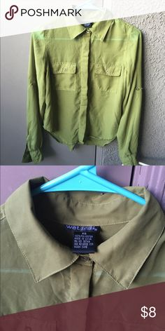 Olive Green button up Super adorable blouse from Wet seal in olive green Wet Seal Tops Blouses