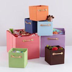 Charmant Kidsu0027 Storage: Sturdy Canvas Storage Cube Bins In Tabletop Storage