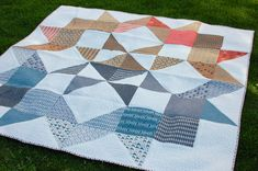 """What a nice mix of modern and traditional here in this """"Moda Love"""" quilt by Amy Ellis of Amy's Creative Side. (Free pattern available here: http://www.unitednotions.com/Moda-Love-Layer-Cake-Quilt.pdf)"""