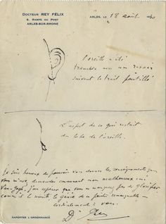 Here's a note from Vincent Van Gogh's doctor showing how much of his own ear he cut off - The QI Elves (@qikipedia) | Twitter