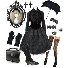 A fashion look from April 2012 featuring ruffle sleeve blouse, black and white boots and cabochon jewelry. Browse and shop related looks. Edgy Outfits, Pretty Outfits, Cool Outfits, Fashion Outfits, Fashion Ideas, Lolita Fashion, Gothic Fashion, Steampunk Fashion, Emo Fashion
