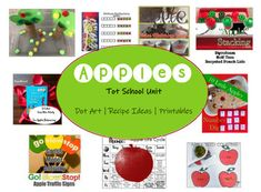 """This set includes: Tot School Unit Plan - One week of apple-themed fun!Mini Apple Eraser/Tile Matching GameApple Dot ArtApple Pie Cloud Dough Recipe CardApple Color Match Cards Print multiples for a fun """"Apple Hunt"""" seek and find game!Apple Seed Counting Cards 1-20 Includes leaf printable with lower... Cloud Dough Recipes, Apple Unit, Mini Apple, Apple Seeds, Unit Plan, School Themes, Tot School, Gross Motor, My Recipes"""