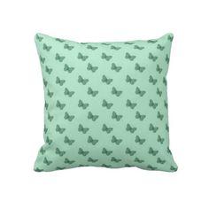 Lime Butterflies Throw Pillows