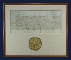 Framed Display! Rare Elizabeth I Document Signed by the Queen, with arguably the finest intact wax seal extant depicting her on both sides, countersigned by four others including her lover, Robert Dudley.