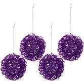Purple Twisted Metal Glitter Ball Ornaments