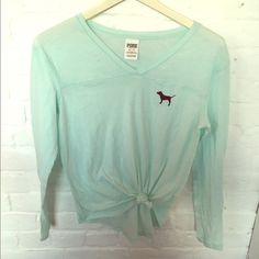 Victoria's Secret Pink turquoise v neck shirt Victoria's Secret Pink turquoise b-neck long sleeve shirt. Perfect to wear with high waisted leggings and roches. Victoria's Secret Tops Tees - Long Sleeve