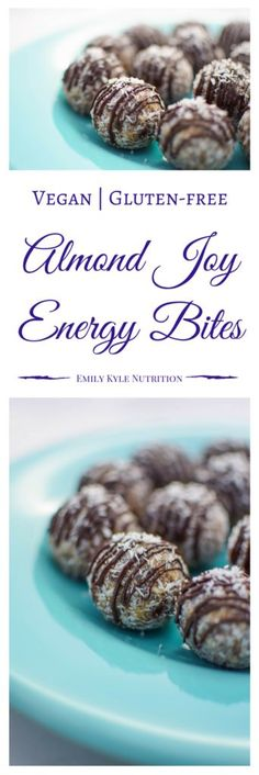Every dessert should be nutritious and delicious!! Get the best of both worlds with these #vegan Almond Joy Energy Bites | via @EmKyleNutrition