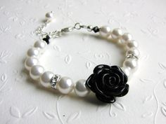 Flower Girl Gift Swarovski Pearl Bracelet by ThreeMineBlessings, $17.00