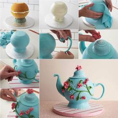 """A teapot cake is such a great """"go-to"""" cake design and perfect for a little girl's birthday, bridal tea party ,Mother's Day, or any celebration.This cake is made a little easier by baking a ball shaped cake. Cake Decorating Techniques, Cake Decorating Tutorials, Decorating Supplies, Fancy Cakes, Cute Cakes, Fondant Cakes, Cupcake Cakes, Fondant Bow, Decors Pate A Sucre"""