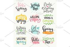 Spring time lettering greeting cards set special spring sale typography poster in gold black and white colors vector illustration by RocketArt on @creativemarket