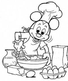 Kleurplaat Mickey Mouse bakt koekjes