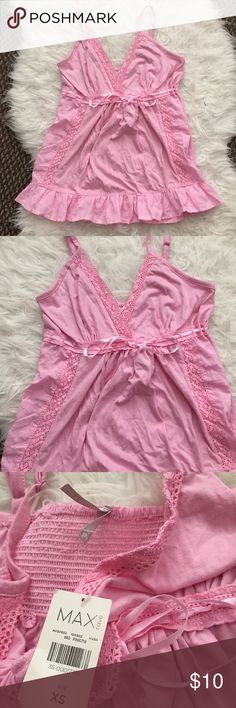 NWT Pink Lace Baby Doll Tank Top size XS NWT detailed Lace baby doll Tank Top with adjustable straps MAX Tops Tank Tops