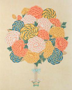 Contemporary Korean Minhwa Folk Painting - Peonies from Traditional Paintings, Traditional Art, Korean Traditional, Contemporary Decorative Art, Korean Painting, Illustration Blume, Kunst Online, Korean Art, Naive Art