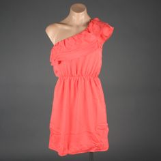 Coral One Shoulder Tribal Trim Empire Summer Dress... Love this for a bridesmaid! With a brown belt to match the boots!!!