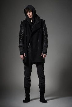 Double breasted wool parka leather sleeves