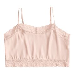 Lace Panel Crop Cami Top ($30) found on Polyvore featuring women's fashion, tops, pink tank top, camisole tank top, cami tank, pink top and camisole tops