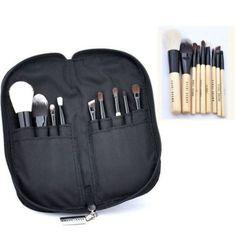 9pcs Professional Soft Cosmetic Makeup Brush Set Kit + Zipper Pouch Bag Case