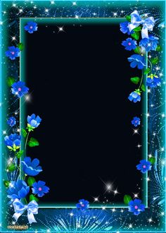 PSD Frame for photoshop - Mysterious and beckoning blue flowers Birthday Photo Frame, Happy Birthday Frame, Birthday Frames, Floral Frames, Creative Flower Arrangements, Photo Frame Design, Photography Studio Background, Photo Layers, Framed Wallpaper