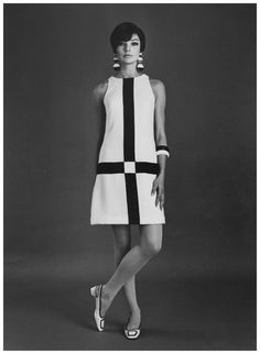 model Jan Stewart wears Mondrian inspired Simona mini dress for Sportsgirl, studio shot, by Bruno Benini, Melbourne, Victoria, Australia, taken 1966